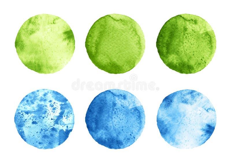 L'ensemble d'aquarelle verte et bleue entoure sur le blanc illustration de vecteur