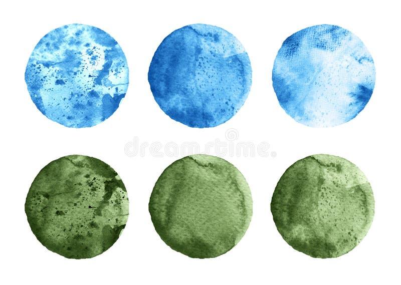 L'ensemble d'aquarelle verte et bleue entoure sur le blanc illustration stock