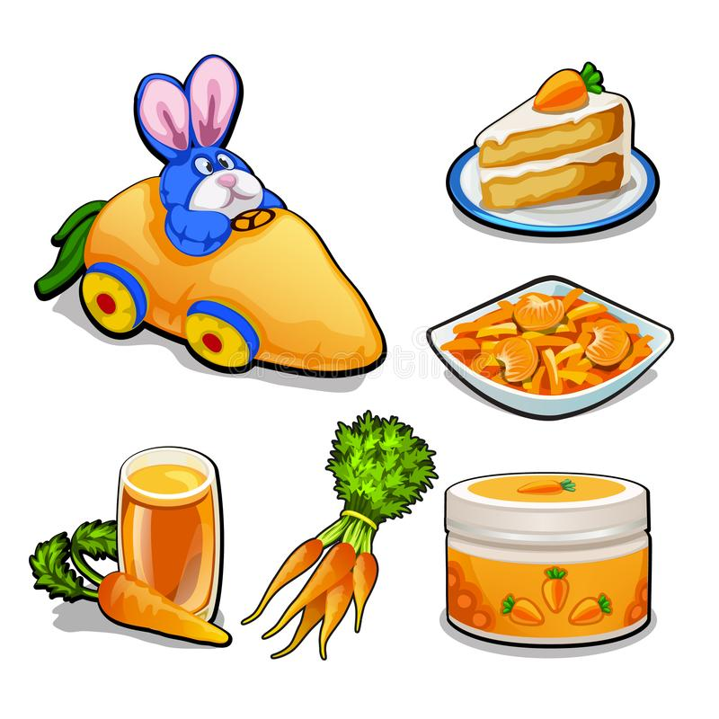 L'ensemble d'articles sur le sujet des carottes d'isolement sur le fond blanc Illustration de plan rapproché de bande dessinée de illustration stock