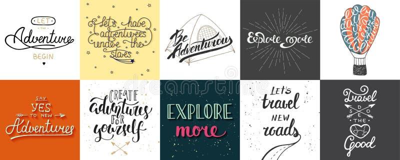 L'ensemble d'aventure et le voyage dirigent la typographie unique tirée par la main illustration stock