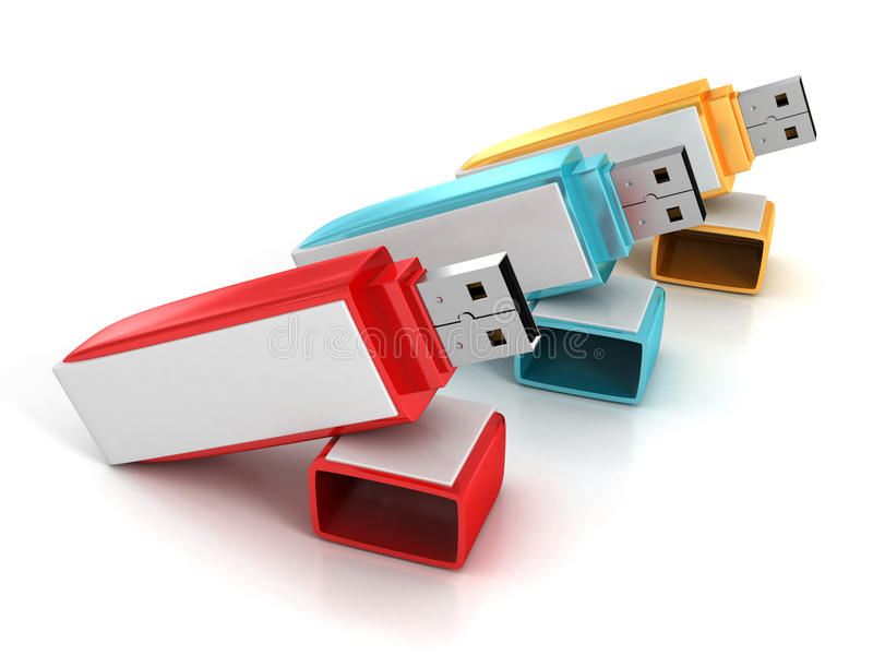 l'ensemble 3d d'éclair coloré d'USB conduit des bâtons illustration de vecteur