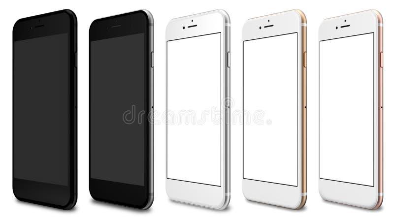 L'ensemble d'or de cinq smartphones, a monté, argente, noircit et noircit poli illustration libre de droits