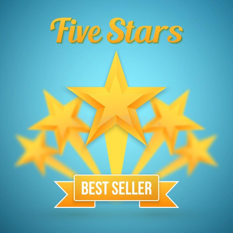 L'ensemble d'or de vecteur tient le premier rôle l'icône Calibre d'icône de cinq étoiles Le meilleur expert en logiciel illustration libre de droits