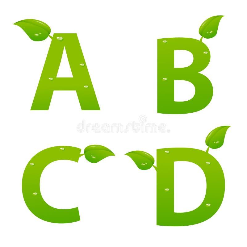 L'ensemble d'eco vert marque avec des lettres le logo avec des feuilles illustration de vecteur