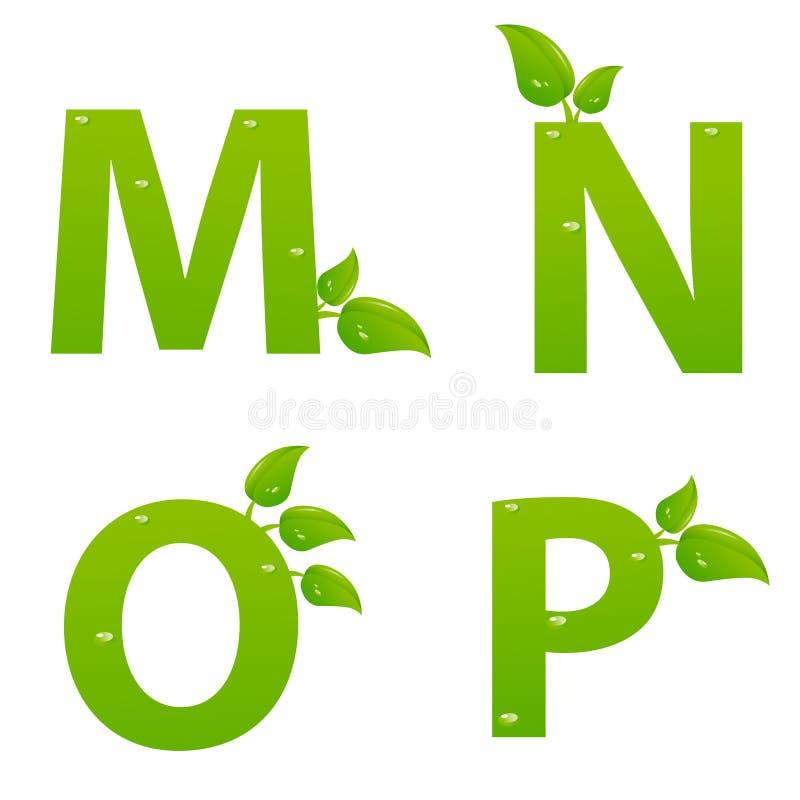 L'ensemble d'eco vert marque avec des lettres le logo avec des feuilles illustration libre de droits