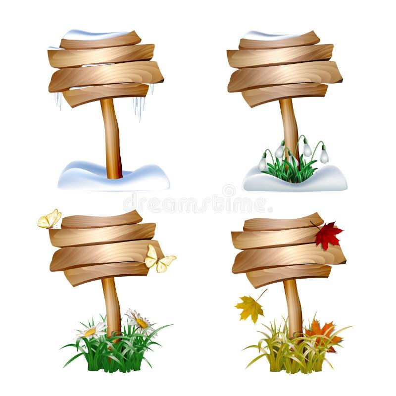 L'ensemble d'en bois signe dedans quatre saisons illustration libre de droits