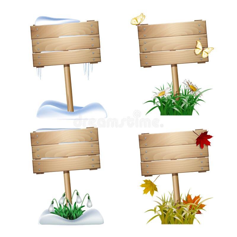 L'ensemble d'en bois signe dedans quatre saisons illustration stock
