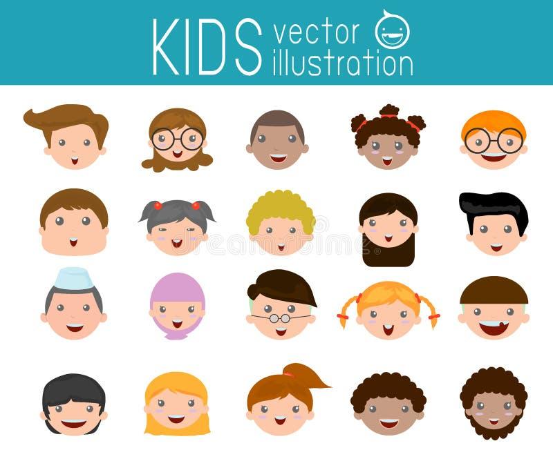 L'ensemble d'enfants de bande dessinée se dirigent, icône de visage d'enfant de bande dessinée, visage d'enfant, enfants et diffé illustration de vecteur