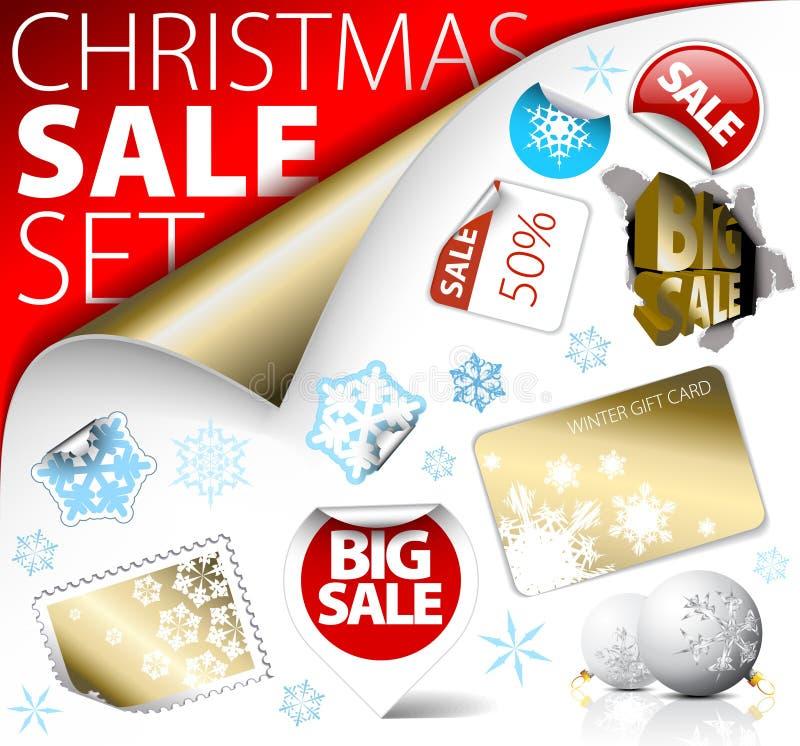 L'ensemble d'escompte de Noël étiquette, des étiquettes, estampilles illustration stock