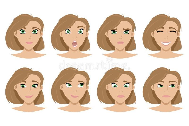 L'ensemble d'expressions sur le visage de la fille Bonheur, col?re, serrant Illustration d'isolement de vecteur illustration stock