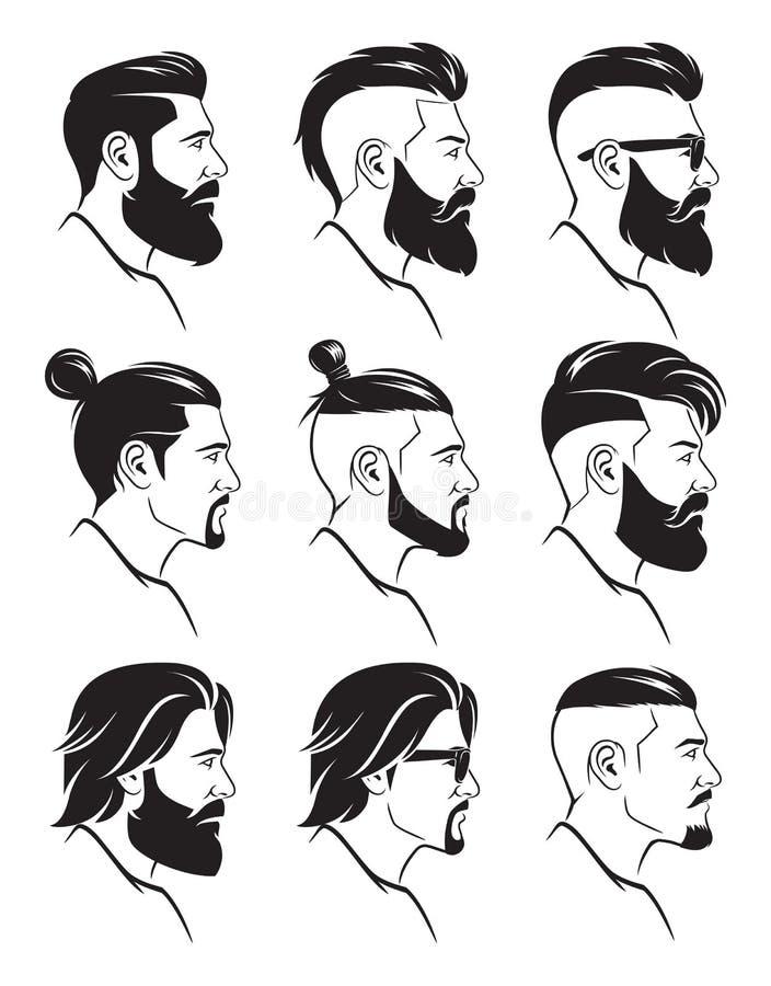 L'ensemble d'hommes barbus de silhouette fait face au style de hippies illustration de vecteur