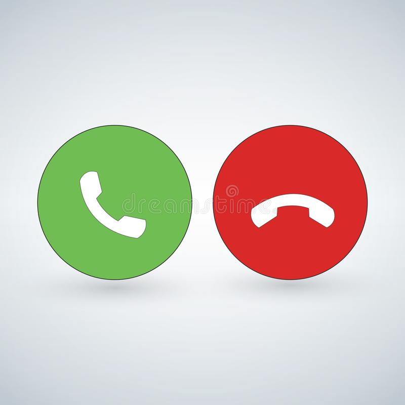 L'ensemble d'icône d'appel téléphonique avec le vert exigent le bouton et rouge accrochez le bouton Conception plate moderne pour illustration libre de droits