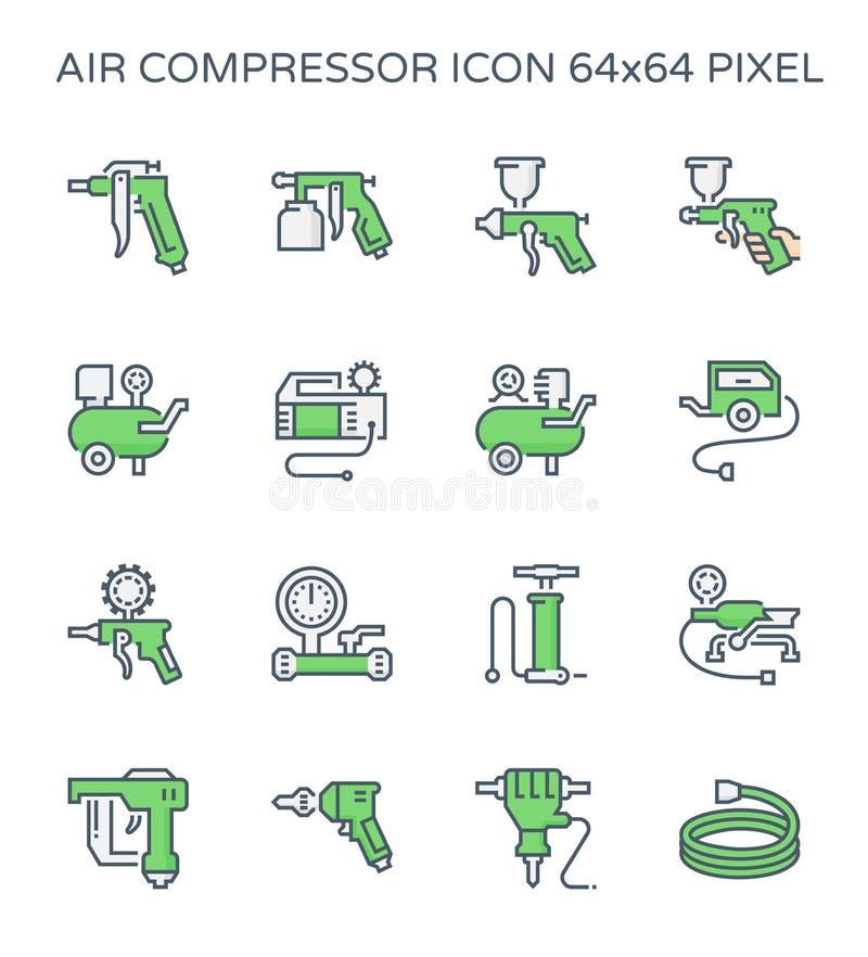 L'ensemble d'icône de compresseur et d'outil d'air, 64x64 perfectionnent le pixel et la course editable illustration libre de droits