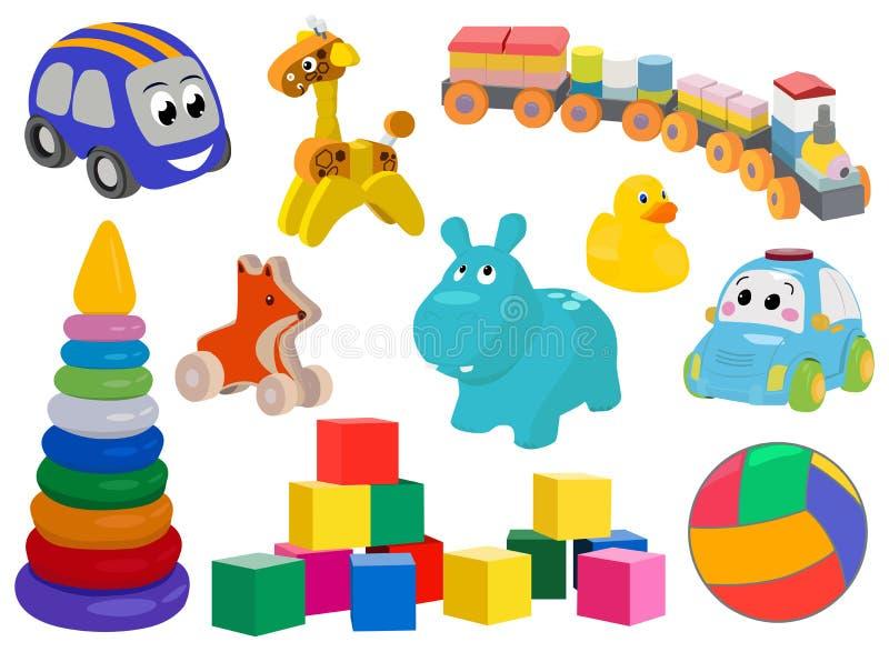 L'ensemble d'icône de couleur de jouets d'enfant, symboles collection, croquis de vecteur, illustrations de logo, enfants de joue illustration libre de droits