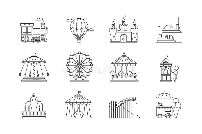 L'ensemble d'icônes linéaires de parc dirigent les éléments plats Objets de parc d'attractions d'isolement sur le fond blanc illustration de vecteur