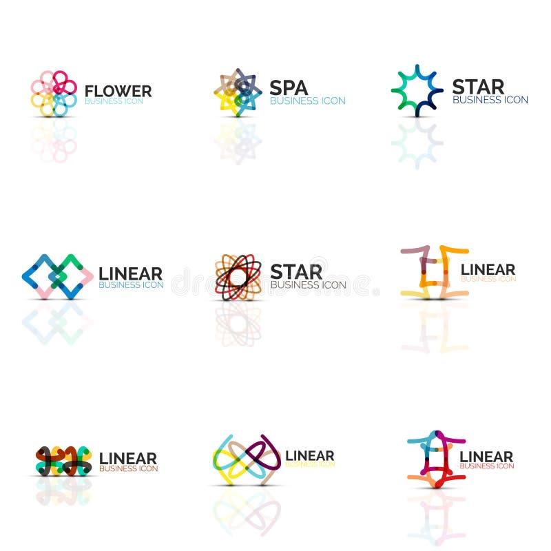 L'ensemble d'icônes linéaires minimalistic abstraites de fleur ou d'étoile, la ligne mince symboles plats géométriques pour l'icô illustration de vecteur