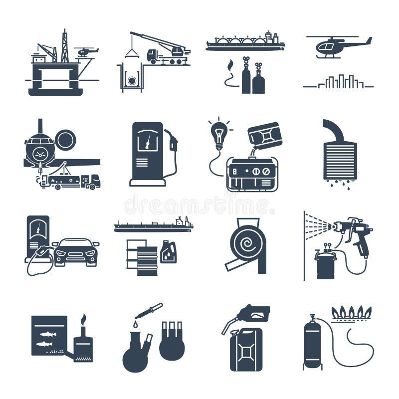 L'ensemble d'icônes noires remplissent de combustible, intoxiquent, transport de pétrole, production illustration de vecteur