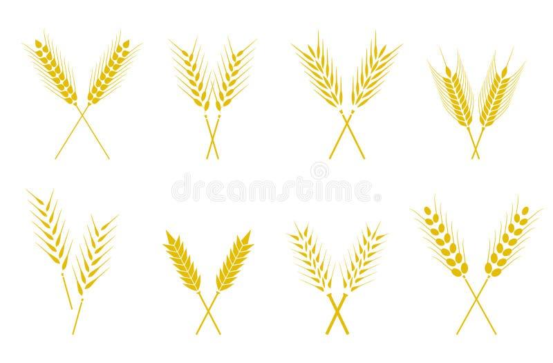 L'ensemble d'icônes simples d'oreilles de blés et le blé conçoivent des éléments illustration stock