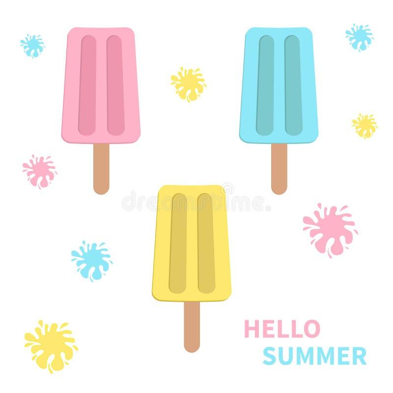 L'ensemble d'icône de crème glacée avec des taches éclabousse Fond blanc Bonjour été Carte de voeux Conception plate illustration de vecteur