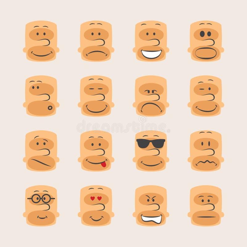 L'ensemble d'icône de vecteur de smiley fait face à l'humeur et à l'expression d'émotions illustration stock