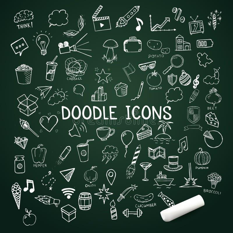 L'ensemble d'icônes de griffonnage, dirigent les objets tirés par la main avec la craie illustration libre de droits