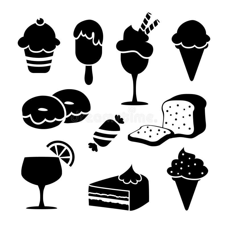 L'ensemble d'icônes de nourriture d'isolement par noir, desserts, crème, illustration de vecteur