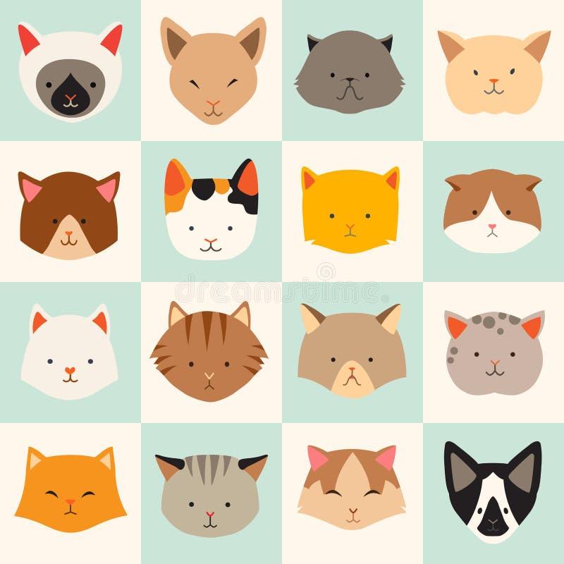 L'ensemble d'icônes mignonnes de chats, dirigent les illustrations plates illustration stock
