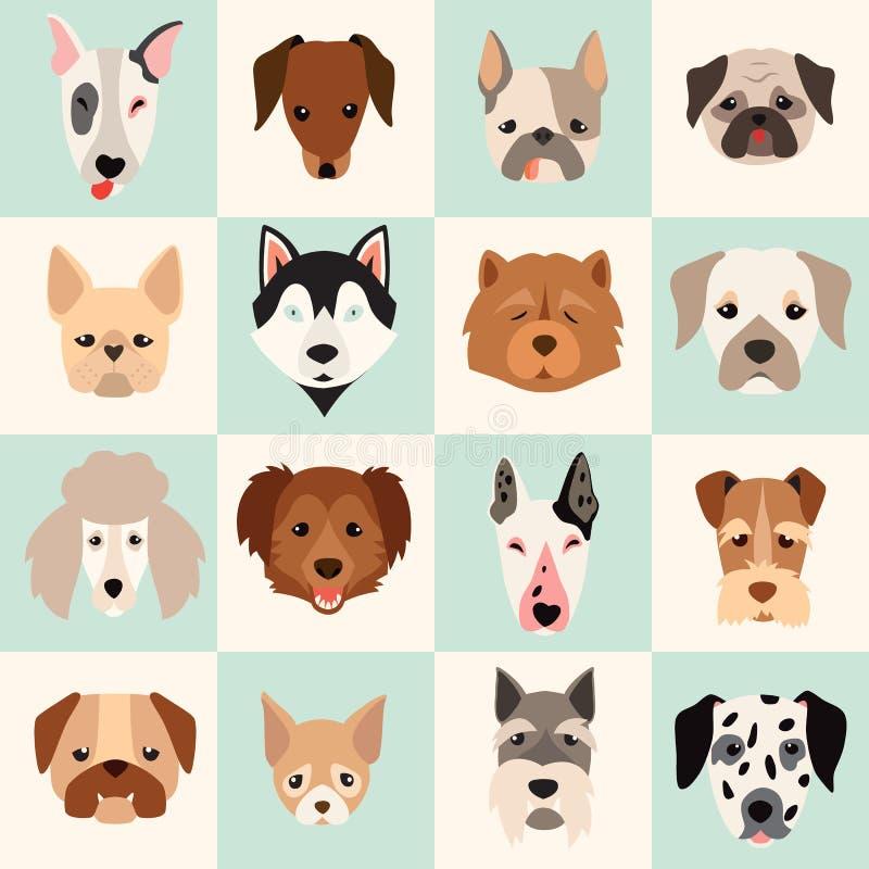 L'ensemble d'icônes mignonnes de chiens, dirigent les illustrations plates illustration stock