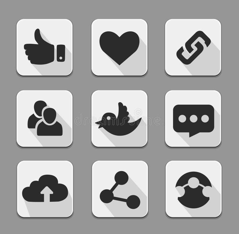 L'ensemble d'icônes sociales blanches de réseau se boutonne avec le clou d'oiseau de Twitter illustration stock