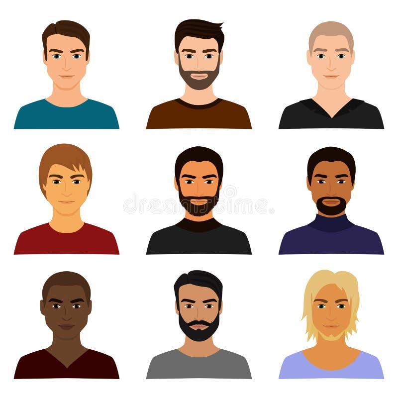 L'ensemble d'illustration de vecteur de caractère masculin d'homme se pose à des avatars dans différents vêtements et coiffures A illustration libre de droits
