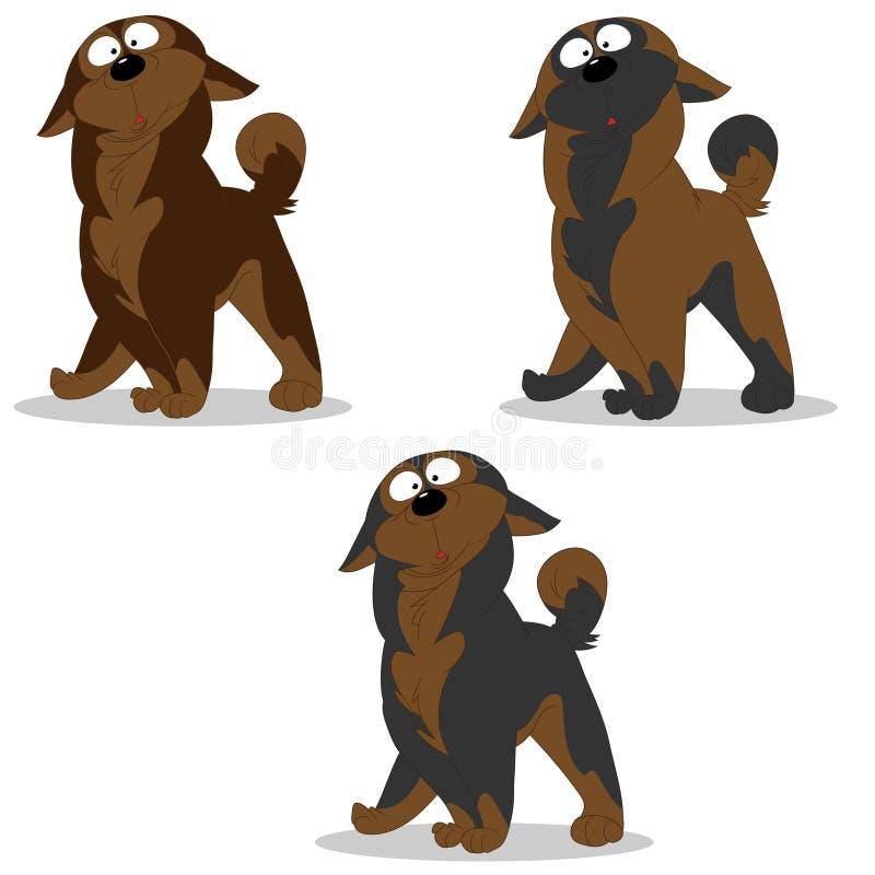 L'ensemble d'illustration de vecteur de caractères de chien a étonné le brun gris c illustration libre de droits