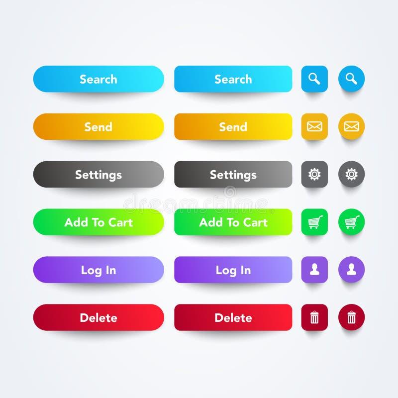 L'ensemble d'illustration de vecteur du Web coloré propre APP se boutonne avec les symboles, le texte et la couleur fraîche de gr illustration de vecteur