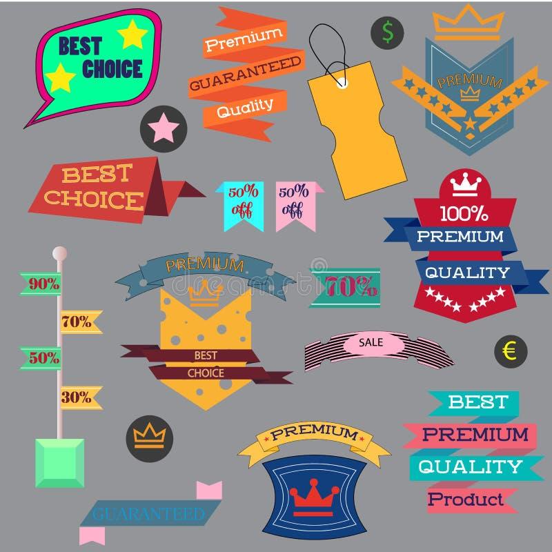 L'ensemble d'illustration de vecteur de label de vintage, l'insigne d'autocollant d'étiquette de bannière et les rubans conçoiven illustration de vecteur