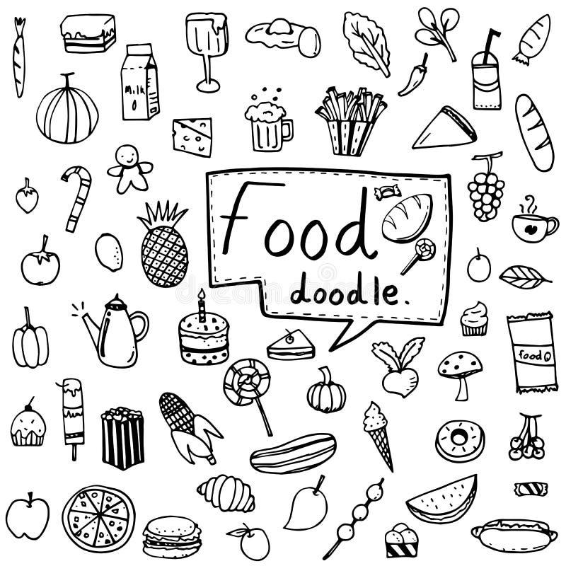 L'ensemble d'illustration de vecteur de nourriture et de boisson, fruits et légumes gribouillent tiré dans le contour noir sur le illustration stock