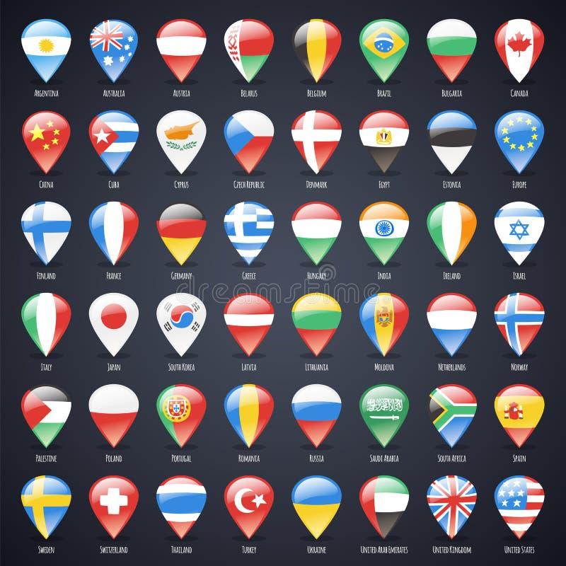 L'ensemble d'indicateurs en verre de carte avec le monde énonce des drapeaux illustration stock