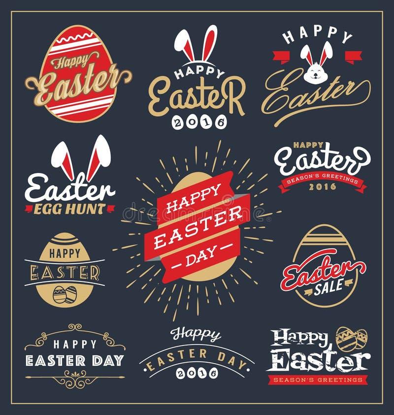 L'ensemble d'insigne de typographie de jour de Pâques et les labels conçoivent illustration libre de droits