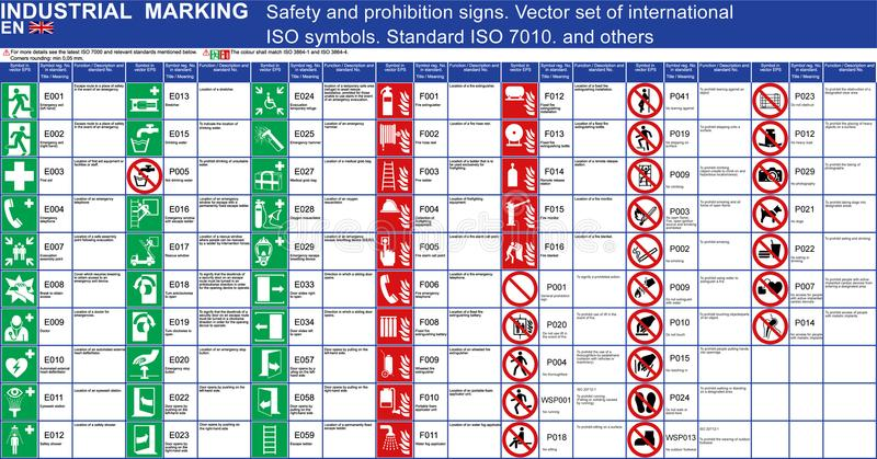 L'ensemble d'interdiction de signes de sécurité de vecteur signe des applications de bâtiments Symboles standard de sécurité de v image stock