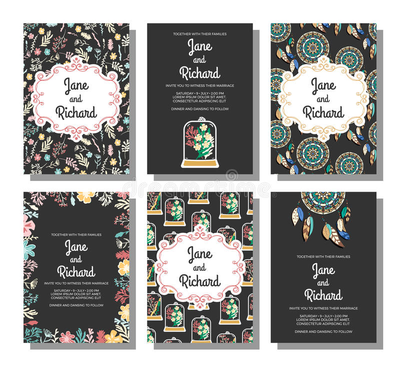 L'ensemble d'invitations de mariage, sauvent les calibres de carte de date illustration de vecteur
