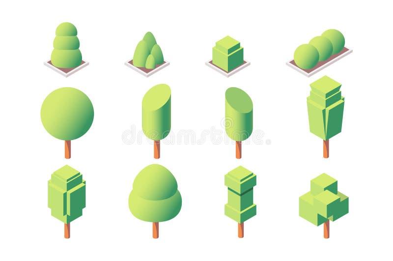 l'ensemble 3d isométrique a équilibré des arbres et des végétations illustration de vecteur