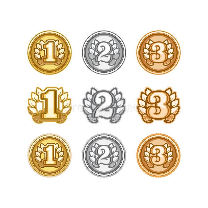 L'ensemble d'or, l'argent et le bronze attribuent des médailles sur le blanc illustration stock