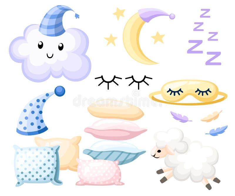 L'ensemble d'objets pour le chapeau de sommeil pour différentes couleurs d'oreiller rêveur agnellent le bandage de lune de nuage  illustration stock