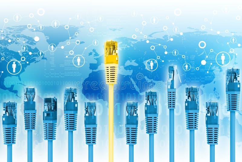 L'ensemble d'ordinateur bleu câble avec le d'or illustration stock