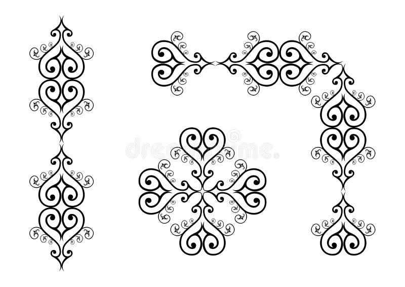 L'ensemble d'ornement d'ornements noirs de vecteur comprenant des rouleaux, répétant des frontières, ordonnent des lignes et des  illustration libre de droits