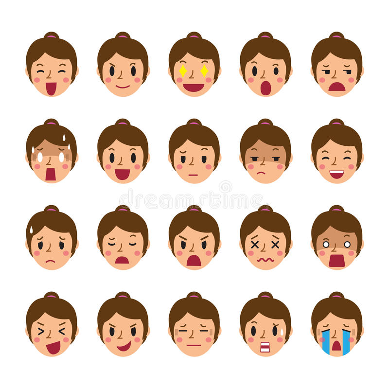 L'ensemble d'une femme fait face à montrer différentes émotions illustration stock