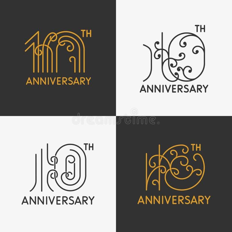 L'ensemble de 10èmes signes d'anniversaire illustration de vecteur