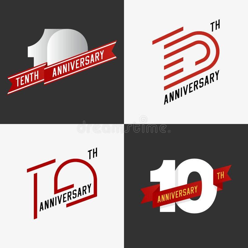L'ensemble de 10èmes signes d'anniversaire illustration stock