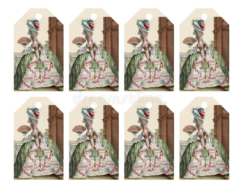 L'ensemble de 8 étiquettes imprimables de cadeau avec la femme à la mode de victorian aiment Marie Antoinette photographie stock libre de droits