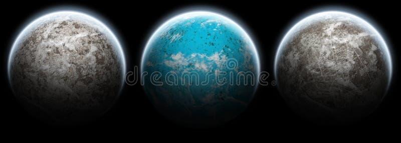 L'ensemble de 3 planètes musarde sur un fond noir illustration stock