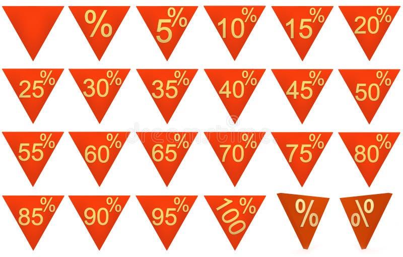 L'ensemble de 3D a rendu des symboles de vente, rouge, or illustration libre de droits