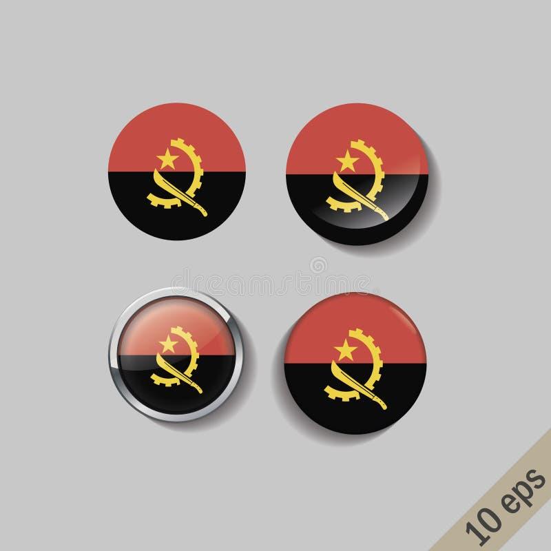 L'ensemble de l'ANGOLA diminue autour des insignes illustration de vecteur
